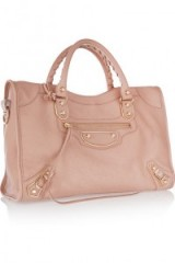 BALENCIAGA Holiday Collection City medium textured-leather tote rose. Luxury handbags | designer bags