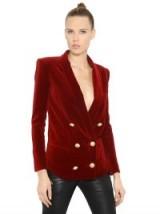 BALMAIN DOUBLE BREASTED COTTON VELVET JACKET red ~ designer jackets ~ luxury fashion