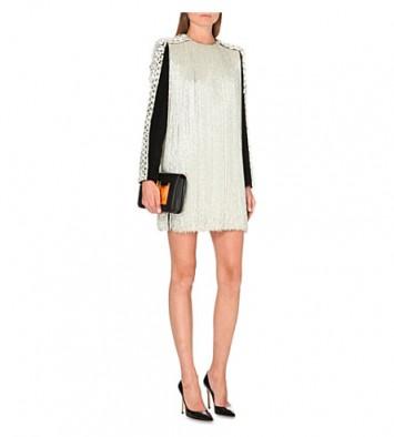 BALMAIN Fringed velvet dress silver/black ~ designer clothes ~ occasion dresses ~ luxury fashion