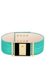 BALMAIN HIGH WAIST PLEATED SATIN BELT green ~ wide luxury belts ~ designer accessories