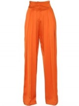BALMAIN PLEATED WIDE LEG VISCOSE SATIN PANTS orange ~ high waisted pleated trousers ~ luxury designer fashion