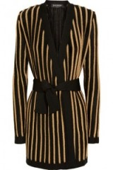 BALMAIN Striped metallic stretch-knit jacket – as worn by Chrissy Teigen out for the evening in Los Angeles, 27 October 2015. Celebrity fashion | star style | designer knitwear | knitted jackets | what celebrities wear