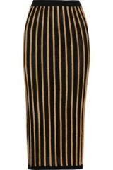 BALMAIN Striped stretch-knit skirt – as worn by Chrissy Teigen out for the evening in Los Angeles, 27 October 2015. Celebrity fashion | star style | designer knitwear | knitted pencil skirts | what celebrities wear