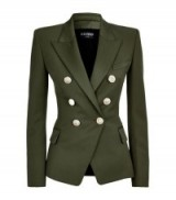 Balmain Wool Double-Breasted Jacket khaki green – as worn by Kim Kardashian on the new Keeping Up With The Kardashians, October 2015. Celebrity fashion | star style | designer blazers | smart luxury jackets | what celebrities wear