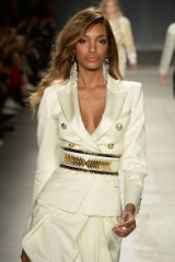 Model Jourdan Dunn walks the runway for the Balmain x H&M fashion show in New York City on 20 October 2015. Designer fashion ~ catwalk outfits ~ luxe style clothing ~ ivory & gold