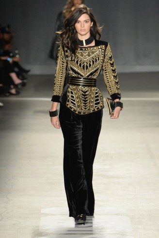Model Kendall Jenner walks the runway for the Balmain x H&M fashion show in New York City on 20 October 2015. Models at work ~ embellished tops ~ black velvet trousers ~ luxe style outfits ~ designer clothing ~ catwalk clothing