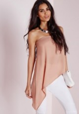 Missguided bandeau asymmetric hem top nude. Pale pink evening tops – going out fashion – strapless style