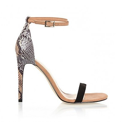 River Island beige snake print barely there sandal heels – glamorous animal prints – high heels – glamour – ankle strap shoes - flipped