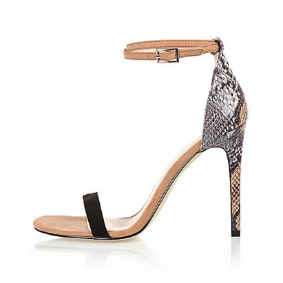 River Island beige snake print barely there sandal heels – glamorous animal prints – high heels – glamour – ankle strap shoes
