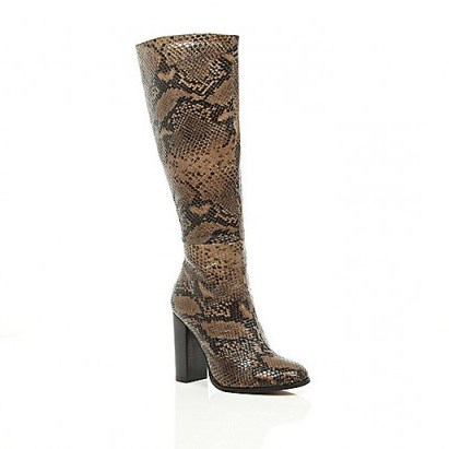 River Island beige snake print knee high heeled boots – animal prints – glamorous winter footwear - flipped