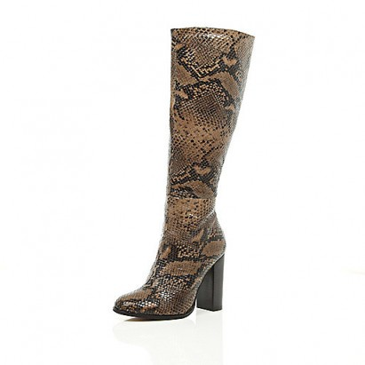 River Island beige snake print knee high heeled boots – animal prints – glamorous winter footwear