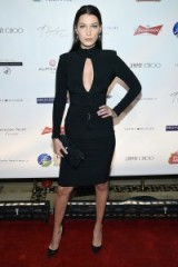 Model Bella Hadid looked chic in a LBD, attending the Global Lyme Alliance Gala in New York City, 8 October 2015. Celebrity style | red carpet fashion | events