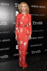Cate Blanchett looked glam in this Giorgio Armani s/s 2016 red flower print gown, when she attended the screening of Truth in New York, 7 October 2015. Celebrity style – designer gowns – long floral dresses – film events