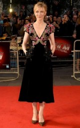 Cate Blanchett wore a black velvet floral embellished Schiaparelli dress, to the BFI London Film Festival premiere of Truth, 17 October 2015. Celebrity style – designer dresses – film premieres – red carpet events