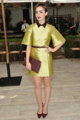 Lily Collins looked chic in this chartreuse green & burgundy outfit when she attended a CFDA/Vogue party at Chateau Marmont in Los Angeles, October 2015. Celebrity style – outfits – events