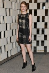 Emma Stone wears a lace Bottega Veneta mini dress to the annual Hammer Museum Gala in the Garden, Westwood, California, 10 October 2015. Celebrity style – events – designer dresses