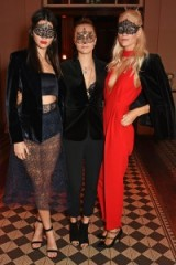 Kendall Jenner with Cara & Poppy Delevingne attend Eva Cavalli's birthday celebration at London venue One Mayfair, 9 October 2015. Celebrity style – models fashion – events – party outfits