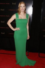 Jessica Chastain wore a green Lanvin sheath gown to the New York 'Crimson Peak' premiere, 14 October 2015. Celebrity style – designer gowns – film premieres – celebrities at events – red carpet fashion