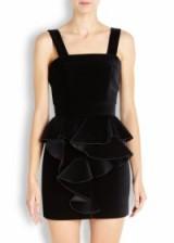BALMAIN Black ruffled velvet mini dress ~ occasion dresses ~ luxury evening wear ~ designer fashion ~ ruffle detail