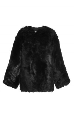 R13 Black Shearling Military Jacket - flipped