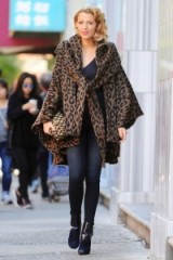 Blake Lively out filming in New York wearing an animal print cloak by Lindsey Thornburg, 7 October 2015. Celebrity fashion – designer cloaks – star style