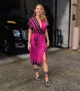 Blake Lively promoting The Age of Adaline at 'Live With Kelly & Michael', April 2015. #blakelively celebrity fashion – hot pink dresses – star style outfits