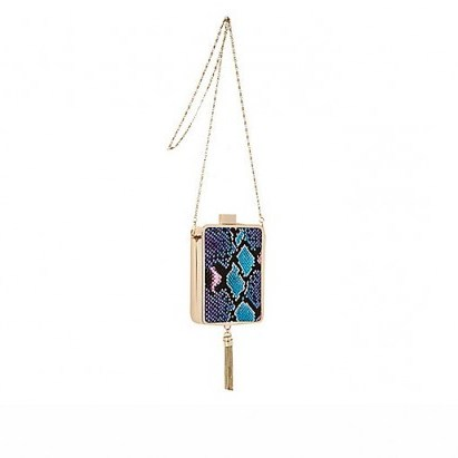 River Island blue snake print tassel box clutch – glamorous evening bags – glamour – animal print handbags - flipped