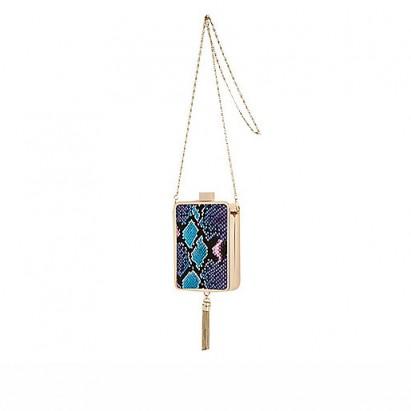 River Island blue snake print tassel box clutch – glamorous evening bags – glamour – animal print handbags