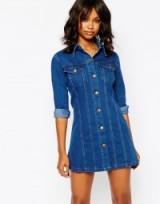 Boohoo Button Front Denim Dress blue. Casual fashion | shirt style dresses