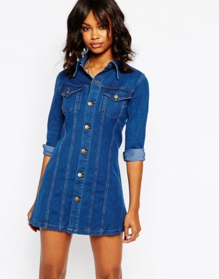 Boohoo Button Front Denim Dress blue. Casual fashion | shirt style dresses - flipped