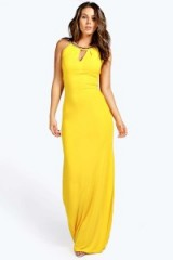 boohoo Boutique Ava Embellished Collar Maxi Dress yellow. Long party dresses ~ evening fashion ~ going out glamour