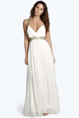 boohoo.com Boutique Soraya Sequin Panel Mesh Maxi Dress ivory. boohoo long party dresses ~ evening glamour ~ going out fashion