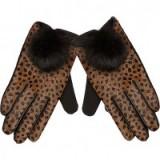 River Island Brown leather leopard print pom pom gloves. Animal prints – winter accessories – glamorous gloves