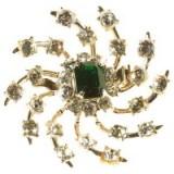 Alice Joseph Vintage 1950s Coro Spiral Design Diamante Brooch, Green/White – chic style brooches – 20th century jewellery – accessories