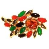 Alice Joseph Vintage 1960s Hattie Carnegie Mixed Stone Brooch, Green/Multi – 20th century costume jewellery – multicoloured brooches – accessories