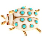 Alice Joseph Vintage 1960s Trifari Beetle Faux Enamel Brooch, White & turquoise – insect brooches – 20th century costume jewellery – accessories