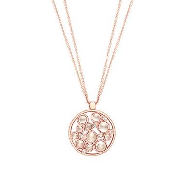 London Road 9ct Gold Diamond Bubble Cluster Pendant, Rose Gold/Moonstone ~ pendants ~ necklaces