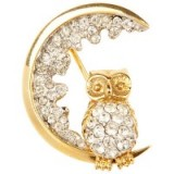 Susan Caplan Vintage 1960s Atwood & Sawyer Swarovski Crystal Night Owl Brooch – 20th century jewellery – bird brooches – accessories – crystals – owls – costume jewellery