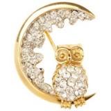 Susan Caplan Vintage 1960s Atwood & Sawyer Swarovski Crystal Night Owl Brooch – 20th century jewellery – bird brooches – accessories – crystals – owls – costume jewellery