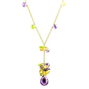 Turner & Leveridge 2003 18ct Gold Peridot Citrine Amethyst Pendant Necklace ~ pendants ~ necklaces ~ jewellery ~ yellow, green & purple gemstones - flipped