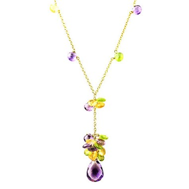Turner & Leveridge 2003 18ct Gold Peridot Citrine Amethyst Pendant Necklace ~ pendants ~ necklaces ~ jewellery ~ yellow, green & purple gemstones
