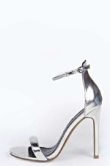 boohoo Caggie Metallic Skinny Two Part Heels silver. High heeled sandals ~ barely there ~ evening shoes ~ ankle strap party shoe