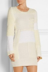 I adore this little dress…CALVIN KLEIN COLLECTION Patchwork knitted silk mini dress ivory. Designer knitwear | luxury knitted dresses