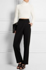 CALVIN KLEIN COLLECTION Tricia cropped ribbed-knit sweater. Designer knitwear | crop tops | high neck sweaters | polo neck jumpers | womens knitwear | winter fashion