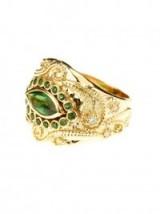 AURÉLIE BIDERMANN FINE JEWELLERY Cashmere tourmaline and diamonds yellow-gold ring – statement rings – luxury jewellery – green gemstones