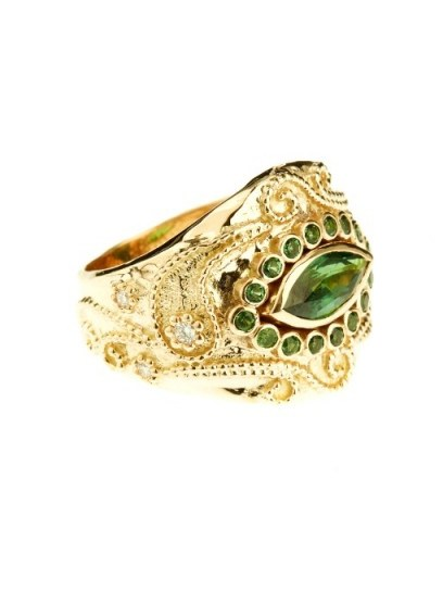 AURÉLIE BIDERMANN FINE JEWELLERY Cashmere tourmaline and diamonds yellow-gold ring – statement rings – luxury jewellery – green gemstones - flipped