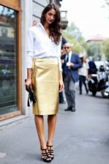 Glamorous street style ~ glamour in the city ~ gold metallic skirts