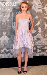 Lily-Rose Depp attends the Chanel Mademoiselle Prive Exhibition launch party, held at the Saatchi Gallery, London, October 2015. Celebrity fashion – designer gowns – celebrities at events