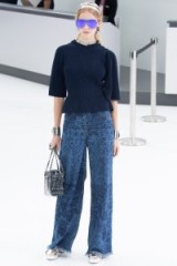 Chanel RTW Spring/Summer 2016 Paris Fashion Week. runway clothing ~ designer trends ~ wide leg printed jeans ~ frayed denim ~ casual luxe