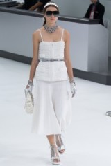 Chanel RTW Spring/Summer 2016 Paris Fashion Week. runway clothing ~ designer trends ~ strappy shimmering camisole tops ~ luxe outfits ~ silver accessories